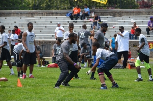 Eagles safety Malcolm Jenkins was on hand for Jahri Evans football camp. (credit: Photo by Anthony Patterson/Jahri Evans Foundation)