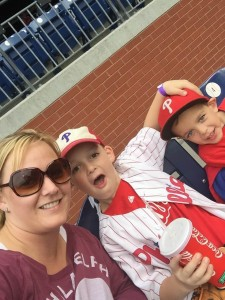Rebecca Gillis enjoys a Phillies game with her son Braxton and his friend. (credit: Rebecca Gillis)