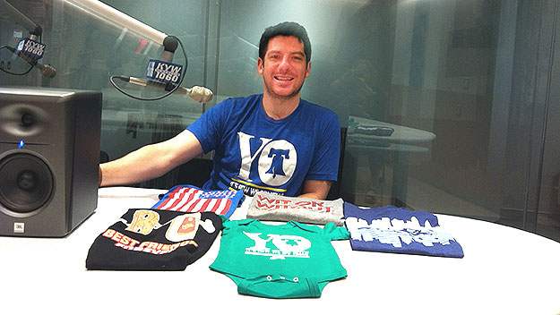 (Dan Hershberg visits the KYW Newsradio studios with some of his company's wearables.  Photo by Lauren Lipton)