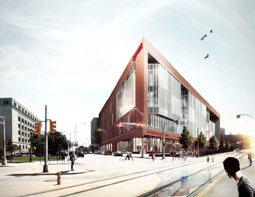 (Artist's rendering of a proposed nursing and science building for Rutgers in Camden.  Image provided)