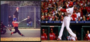A side-by-side swing comparison of Braxton Gillis and his favorite player, Ryan Howard. (credit L: Rebecca Gillis, credit R: Chris McGrath/Getty Images)