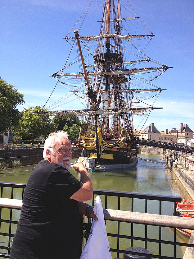 """(In France, Walter Staib gets a look at the replica """"Hermione"""" before its departure across the Atlantic to Philadelphia.  Photo provided)"""