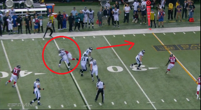 Jason Kelce gets called for a hold on a Ryan Mathews big gain. (Photo credit: NFL Game Rewind)