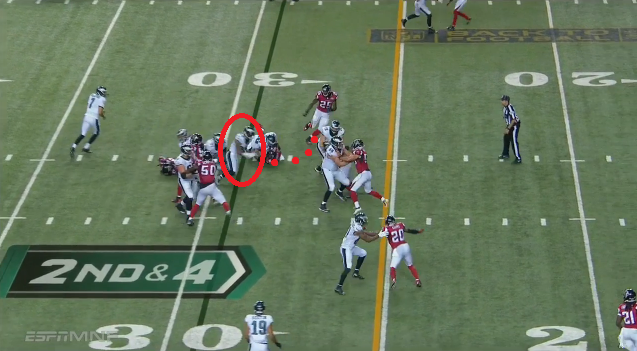 Ryan Mathews trips and comes up short of the first down. (Photo credit: NFL Game Rewind screen shot)