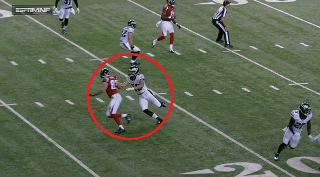 Kiko Alonso commits an illegal contact penalty late in the second quarter, negating an Eagles fumble recovery. (Photo credit: NFL Game Rewind screen shot)