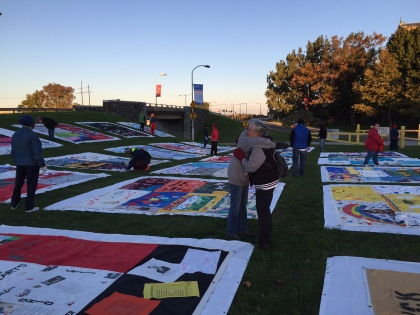 Portions of the national AIDS Memorial Quilt on display. (Credit: Tim Jimenez)