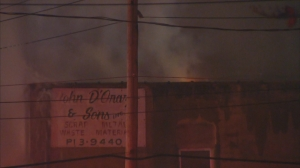 Dark smoke from 3-alarm warehouse fire thickens the sky over Bridesburg (photo credit CBS 3)
