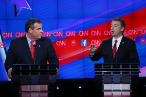 LAS VEGAS, NV - DECEMBER 15:  Republican presidential candidate U.S. Sen. Rand Paul (R-KY) (R) speaks as New Jersey Gov. Chris Christie listens during the CNN Republican presidential debate on December 15, 2015 in Las Vegas, Nevada. This is the last GOP debate of the year, with U.S. Sen. Ted Cruz (R-TX) gaining in the polls in Iowa and other early voting states and Donald Trump rising in national polls.  (Photo by Justin Sullivan/Getty Images)