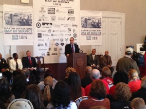 Todd Bernstein at podium announces Martin Luther King, Jr. Day of Service details. (credit: Cherri Gregg/KYW)