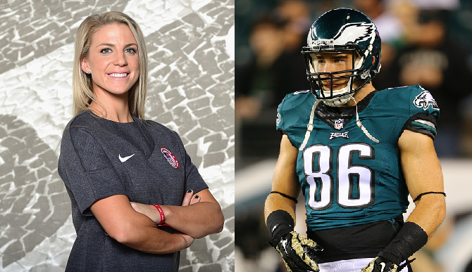 best sneakers 6ce94 8a967 Zach Ertz Proposed To Julie Johnston At Stanford's Baseball ...