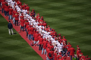 PHILADELPHIA, PA - APRIL 06: The Philadelphia Phillies march into the stadium before the game against the Boston Red Sox during Opening Day at Citizens Bank Park on April 6, 2015 in Philadelphia, Pennsylvania.  (Photo by Drew Hallowell/Getty Images)