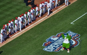 PHILADELPHIA, PA - APRIL 06: The Philadelphia Phillies are introduced before the game against the Boston Red Sox as the Philly Phanatic carries on during Opening Day at Citizens Bank Park on April 6, 2015 in Philadelphia, Pennsylvania. (Photo by Drew Hallowell/Getty Images)