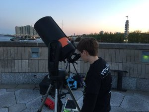 12-year-old Ian Leak taking part in Astronomy Night. (credit: Andrew Kramer)