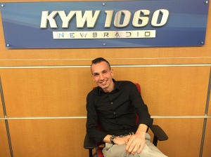 Gavin Lichtenstein in the KYW Newsradio newsroom ahead of his trip to Cuba. (Credit: John McDevitt)