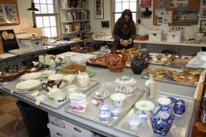Layout of MoAR artifacts in Commonwealth Heritage Group laboratory in West Chester. (credit: Sarah Jane Ruch)
