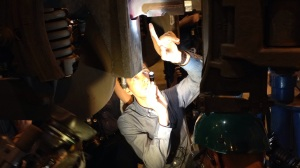 SEPTA's Greg Buzby points to a dyed crack on a beam assembly removed from a Silverliner V (credit: Mike DeNardo)