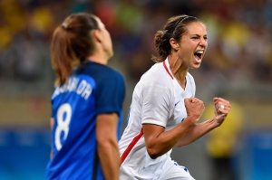 BELO HORIZONTE, BRAZIL - AUGUST 06: Carli Lloyd of United States celebrates after scoring during the Women's Group G first round match between United States and France during Day 1 of the Rio 2016 Olympic Games at Mineirao Stadium on August 6, 2016 in Belo Horizonte, Brazil. (Photo by Pedro Vilela/Getty Images)