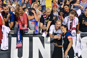 COLUMBUS, OH - SEPTEMBER 15:  Carli Lloyd #10 of the US Women's National Team signs autographs for fans after a game against Thailand on September 15, 2016 at MAPFRE Stadium in Columbus, Ohio. The United States defeated Thailand 9-0.  (Photo by Jamie Sabau/Getty Images)