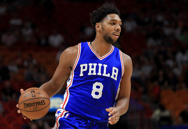 Jahlil Okafor #8 of the Philadelphia 76ers looks to pass during a preseason game against the Miami Heat at American Airlines Arena on October 21, 2016 in Miami, Florida.