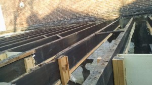 These southern yellow pine joists will be salvaged by the Philadelphia Community Corps. (Credit: Tom Rickert)