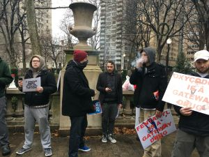 Chase Kent and other weed advocates in Rittenhouse Square. (Credit: Andrew Kramer)