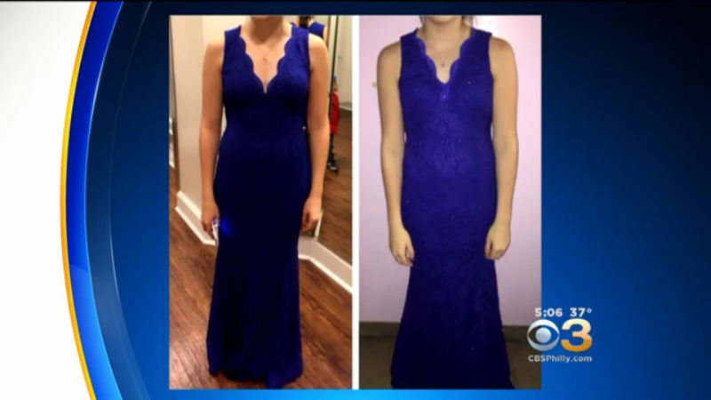 273bd2766e3 Photo provided to Eyewitness News of a dress reportedly modified for prom  approval. (credit