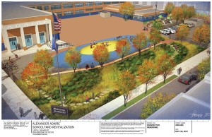 Schoolyard concept design by Ian Smith Design Group for Friends of Adaire. Rendering by Kirk Fromm. (Courtesy of The Trust for Public Land)