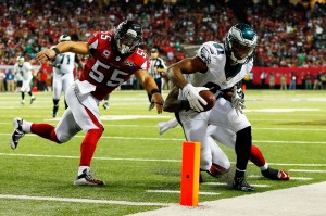 ATLANTA, GA - SEPTEMBER 14: Jordan Matthews #81 of the Philadelphia Eagles fails to score a touchdown after being pushed out of bounds by Paul Worrilow #55 of the Atlanta Falcons during the second half at the Georgia Dome on September 14, 2015 in Atlanta, Georgia.  (Photo by Kevin C. Cox/Getty Images)