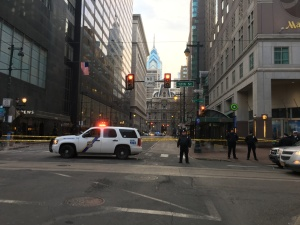 Market Street between 12th and 13th was still closed at the start of Friday's evening rush. (Credit: Andrew Kramer)