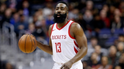James Harden #13 of the Houston Rockets dribbles the ball against the Washington Wizards at Capital One Arena on December 29, 2017 in Washington, DC.