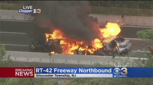 Three-Vehicle Fire Shuts Down Northbound Route 42 In Gloucester Township