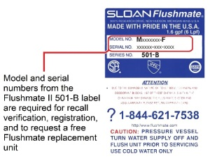 Flushmate® Recalls Flushmate II 501-B Pressure-Assisted Flushing Systems Due to Impact and Laceration Hazards