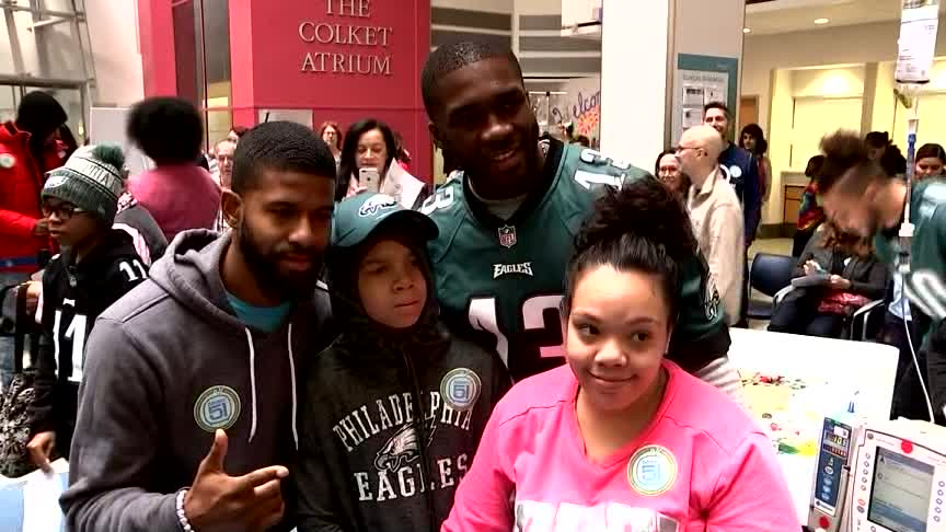 Eagles Players Give CHOP Patients Surprise Of Lifetime Day