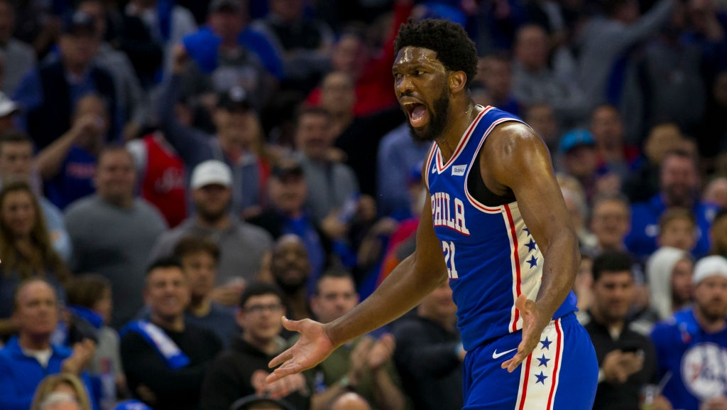 Joel Embiid #21 of the Philadelphia 76ers reacts against the Brooklyn Nets in the first quarter of Game Two of Round One of the 2019 NBA Playoffs at the Wells Fargo Center on April 15, 2019 in Philadelphia, Pennsylvania.