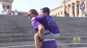 Man Celebrates Birthday By Carrying People Up Rocky Steps For Good Cause