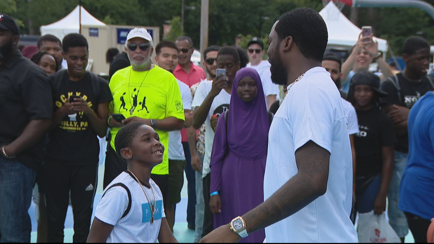 Meek Mill Joins City Officials To Unveil Renovated Basketball Courts In North Philadelphia