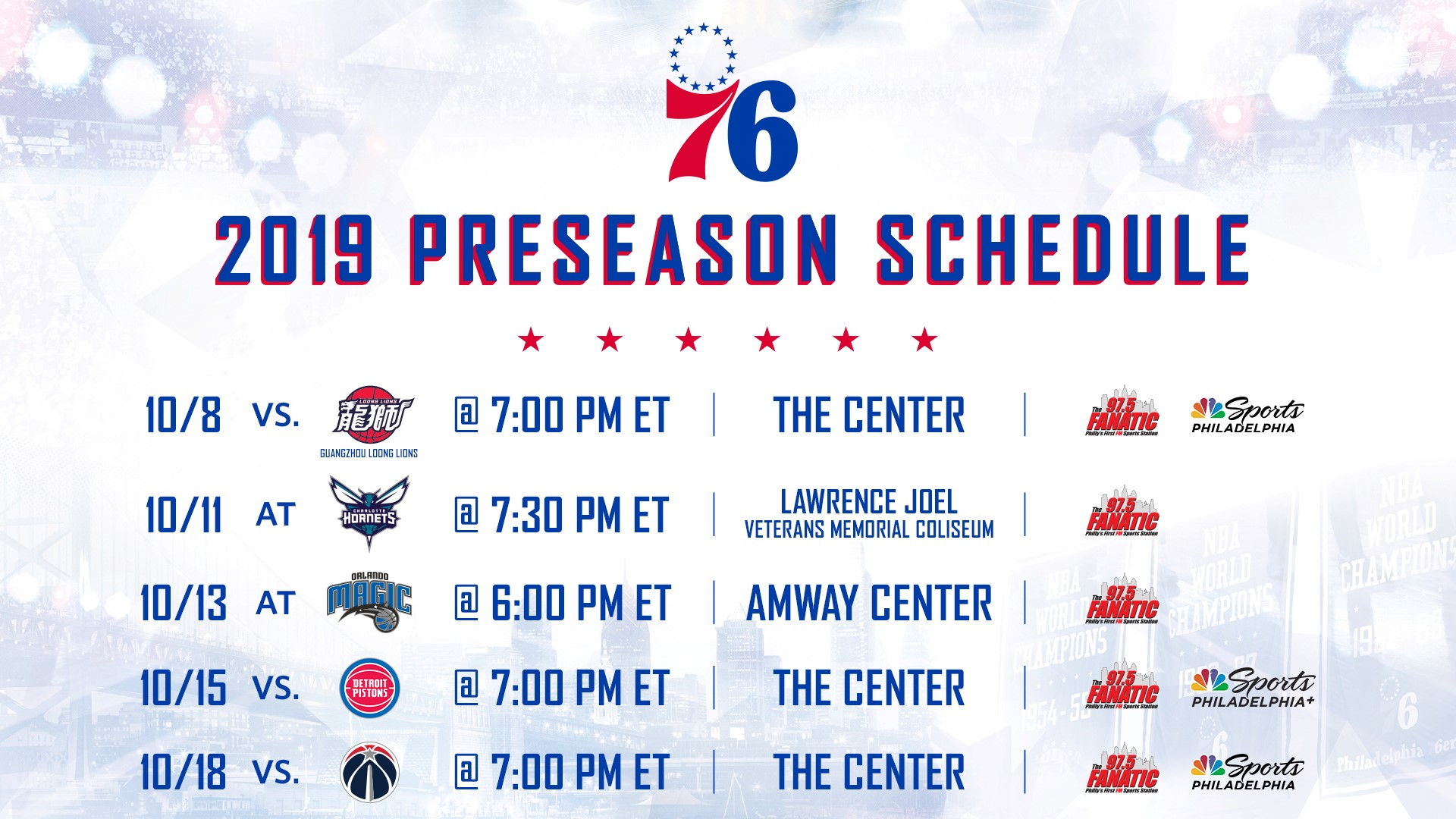 picture about Detroit Pistons Printable Schedule called Sixers Launch 2019 Preseason Routine CBS Philly