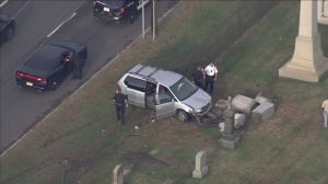 Minivan Crashes Into Fence At Calvary Cemetery In Cherry Hill