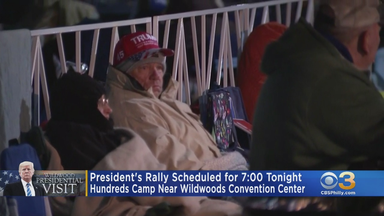 Hundreds Line Up Outside Wildwoods Convention Center For Trump Re-Election Rally