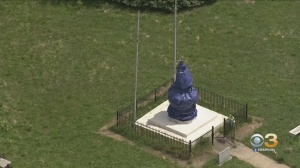 Christopher Columbus Statue In Chester Covered By Blue Tarp