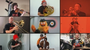 Gritty Conducts Members Of The Philadelphia Orchestra For Rendition Of Flyers Goal Song