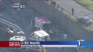 Serious Crash Involving School Bus, Ambulance Shuts Down Portion Of I-95 In Delaware County