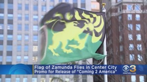 Flag Of Zamunda From 'Coming 2 America' Sequel Flies in Center City