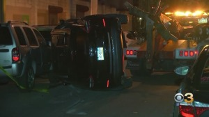 Car Overturns In South Philadelphia