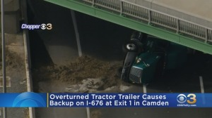 Overturned Tractor-Trailer Causes Backup On I-676 In Camden