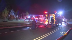 Firefighters Rush To Battle House Fire In Whitemarsh Township