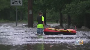 Tropical Storm Henri Causes Flooding On Streets In Mercer County, New Jersey