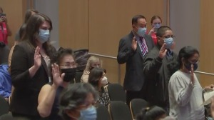 Fifty New U.S. Citizens Naturalized At Philadelphia's National Constitution Center