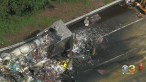 Tractor-Trailer Catches Fire In Accident On New Jersey Turnpike In Salem County