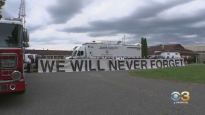 'We Will Never Forget' Banner Displayed At World Trade Center Site Following 9/11 Aftermath Stops In Delaware County
